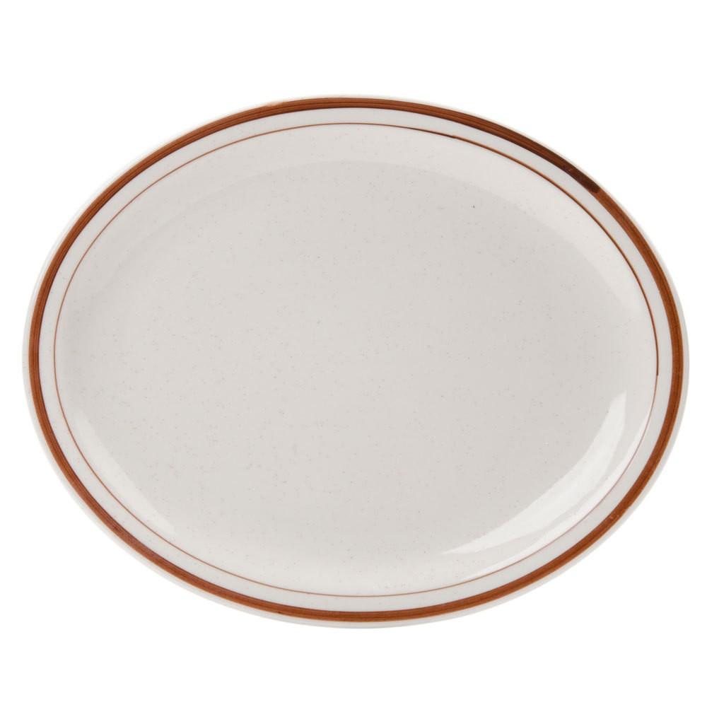 "Yanco BR-12 Brown Speckled 9 1/2"" Oval Platter"
