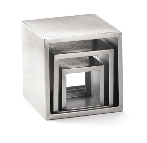 TableCraft RS3 Brushed Stainless Steel Square 3-Tier Riser Set