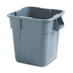 Brute Container, Square, Polyethylene, 28 gal, Gray
