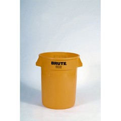 Brute Refuse Container, Round, Plastic, 20 gal, Yellow