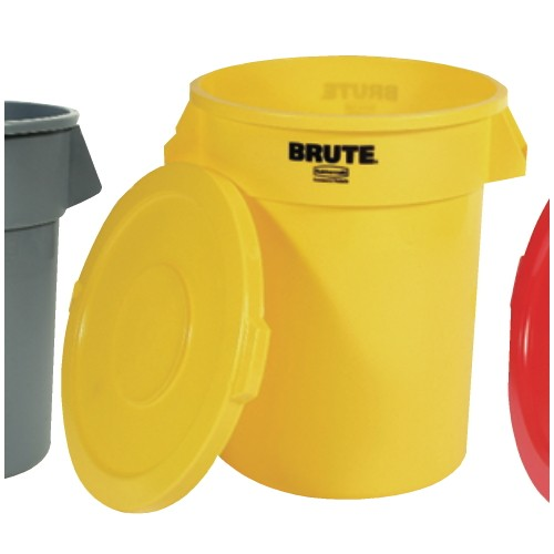 Brute Refuse Container, Round, Plastic, 55 gal, Yellow