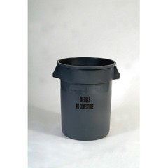 Brute Refuse Container W/Imprint, Round, Plastic, 32 gal, Gray