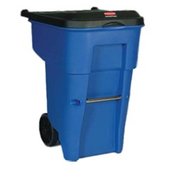Brute Rollout Container, Square, Plastic, 65 gal, Blue