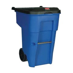 Brute Rollout Container, Square, Plastic, 95 gal, Blue