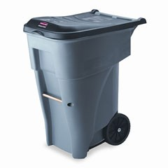 Brute Rollout Heavy-Duty Waste Container, Square, Polyethylene, 65 gal, Gray