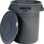 Brute Round Container w/Lid, Plastic, 32 gal, Gray