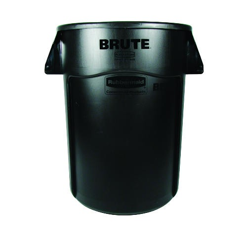 Brute Vented Trash Receptacle, 44 Gallon, Black