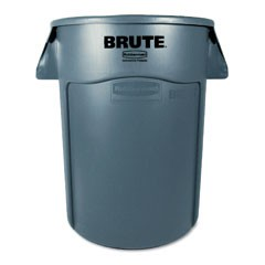 Brute Vented Trash Receptacle, 44 Gallon, Gray