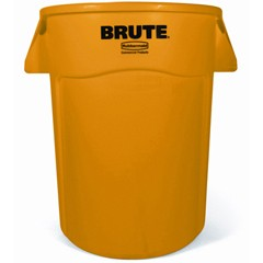 Brute Vented Trash Receptacle, 44 Gallon, Yellow