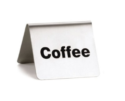 """TableCraft B1 Stainless Steel """"Coffee"""" Tent Sign, 2-1/2"""" x 2"""" x 2"""""""