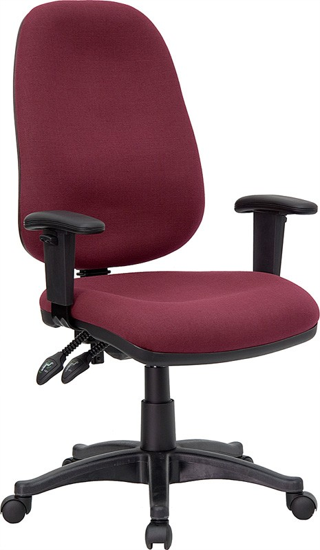 Burgundy Fabric Ergonomic Computer Chair with Height Adjustable Arms