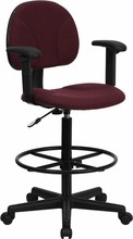 Flash Furniture BT-659-BY-ARMS-GG Burgundy Fabric Ergonomic Drafting Stool with Arms