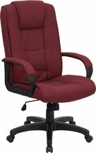 Burgundy Fabric High Back Executive Office Chair