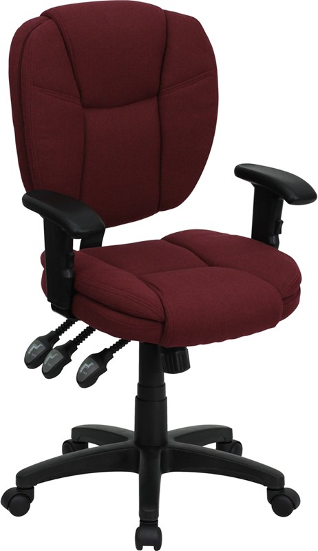 Flash Furniture GO-930F-BY-ARMS-GG Burgundy Fabric Multi Function Task Chair with Arms