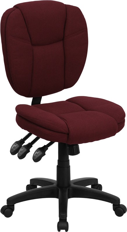 Burgundy Fabric Multi Function Task Chair