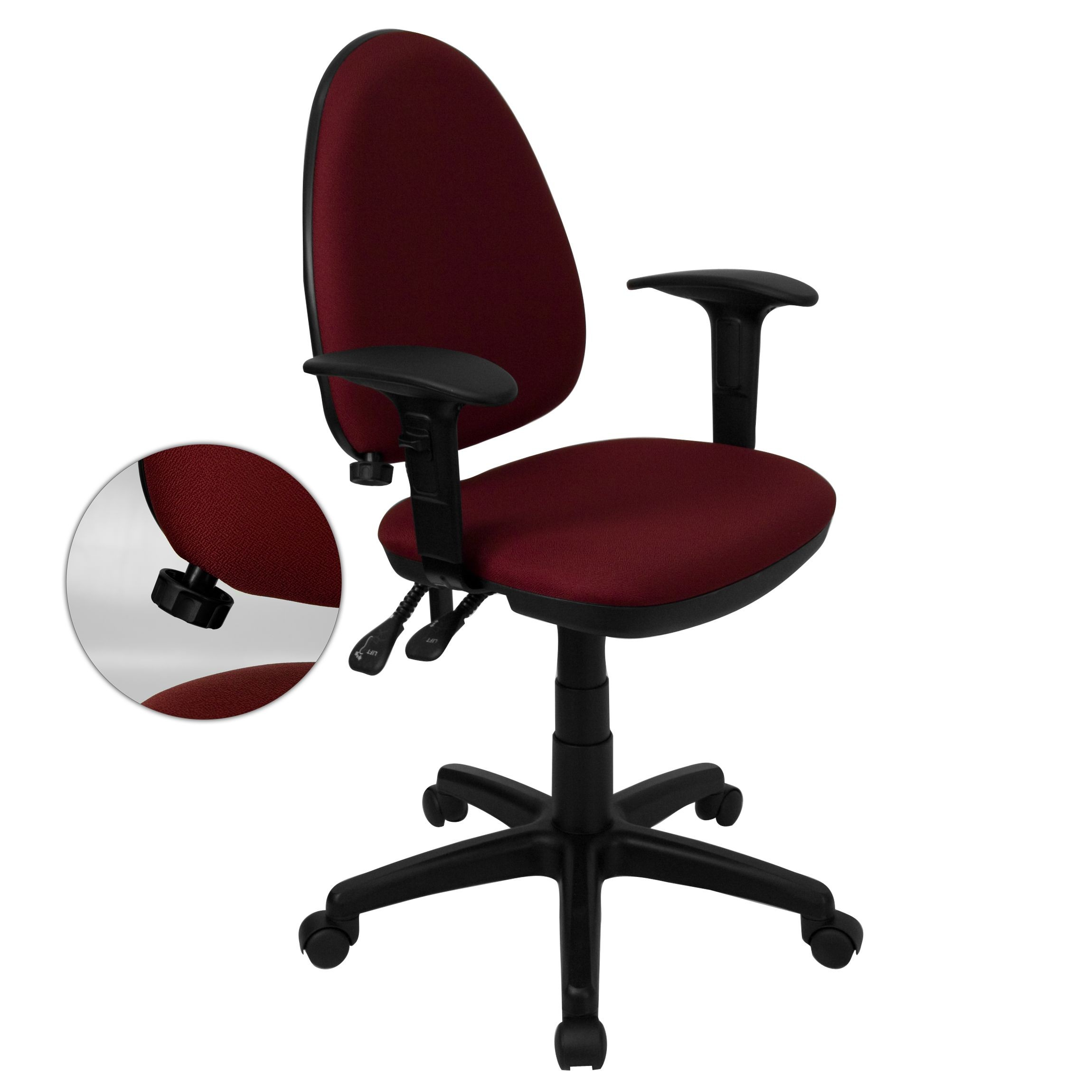 Burgundy Fabric Multi-Function Task Chair with Adjustable Lumbar Support, Arms
