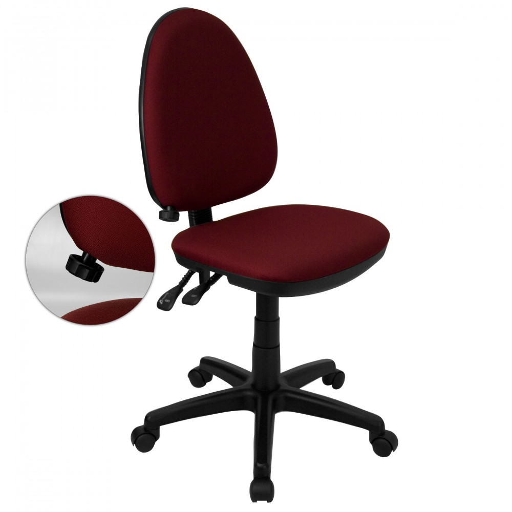 Burgundy Fabric Multi-Function Task Chair with Adjustable Lumbar Support
