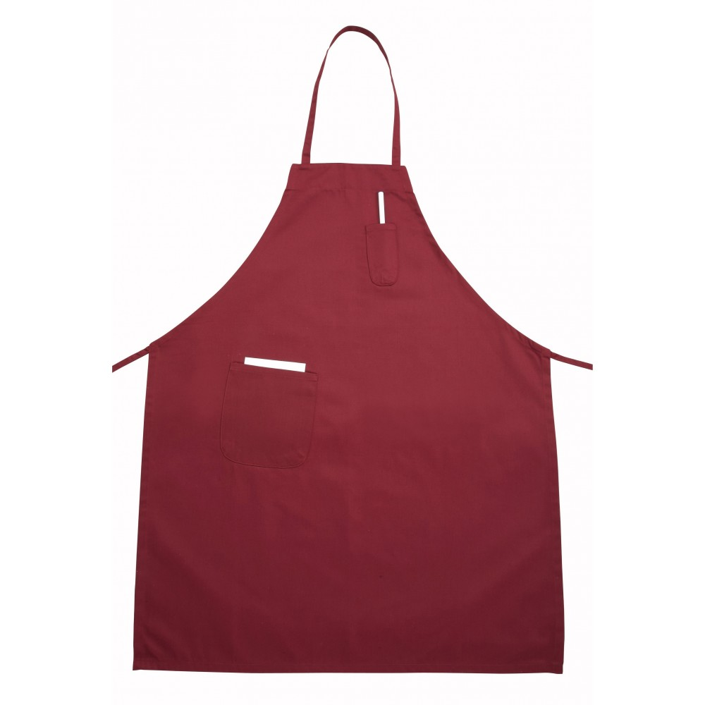 Winco BA-PBG Full-Length Burgundy Bib Apron with Pocket