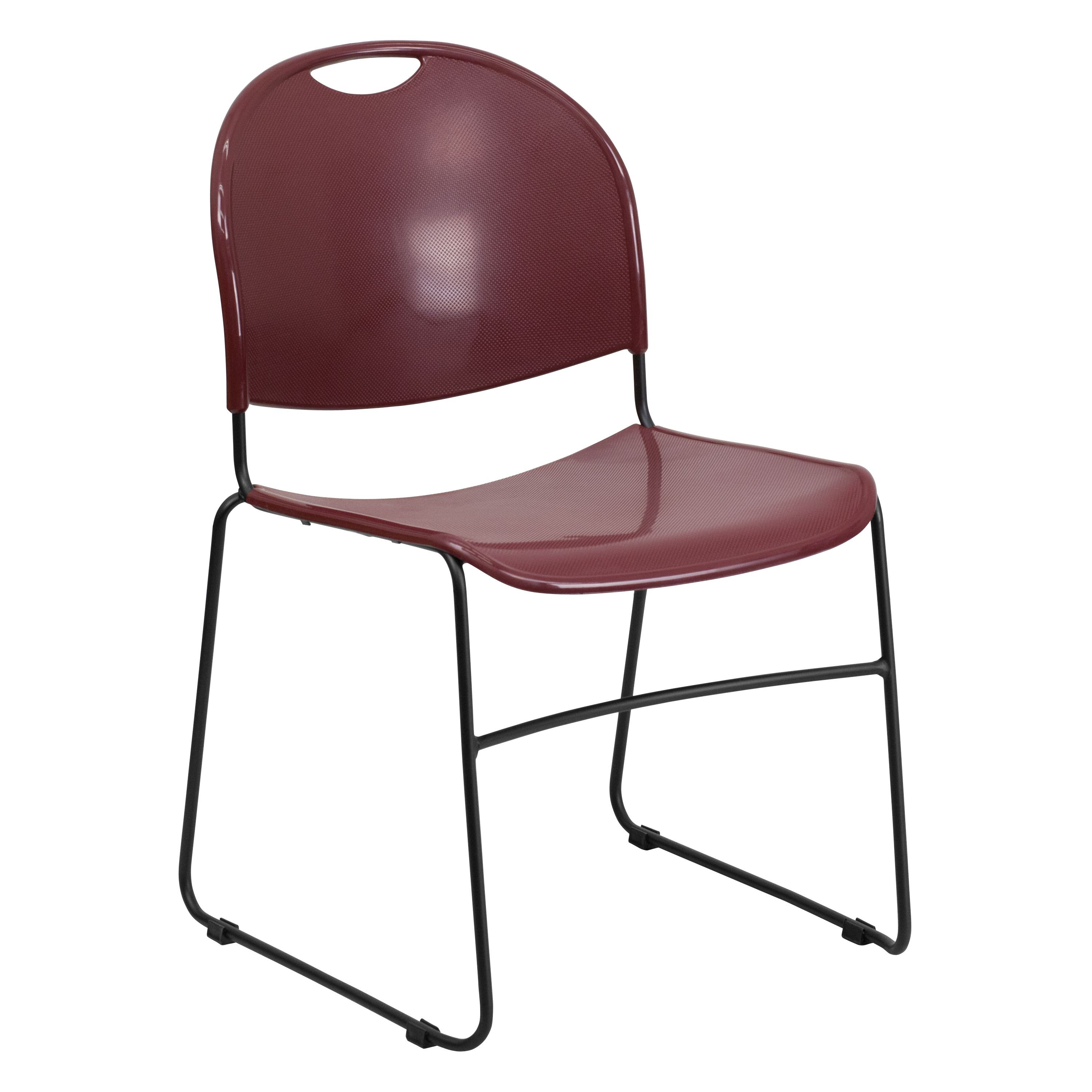 Flash Furniture rut-188-by-gg HERCULES Series 880 Lb. Capacity Burgundy Ultra Compact Stack Chair with Black Frame