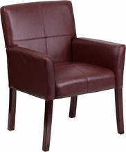 Burgundy Leather Executive Side Chair or Reception Chair with Mahogany Legs