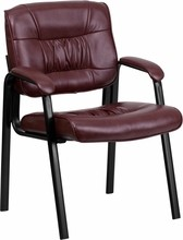 Flash Furniture BT-1404-BURG-GG Burgundy Leather Guest/Reception Chair with Black Frame Finish