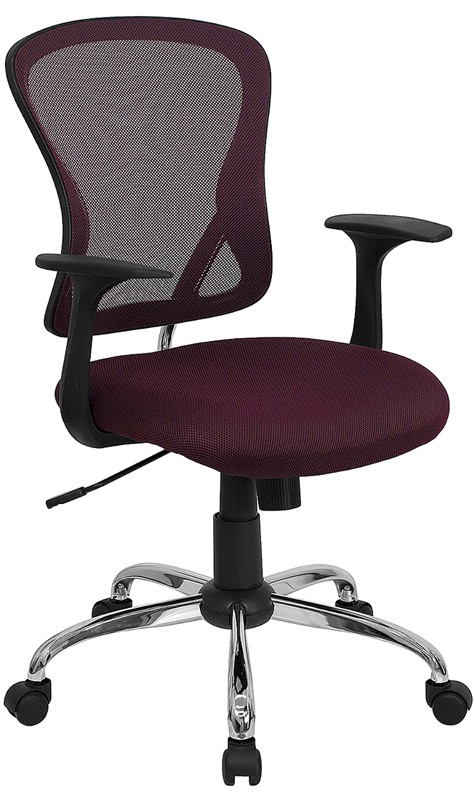 Flash Furniture H-8369F-ALL-BY-GG Mid-Back Burgundy Mesh Executive Office Chair with Chrome Base and Arms