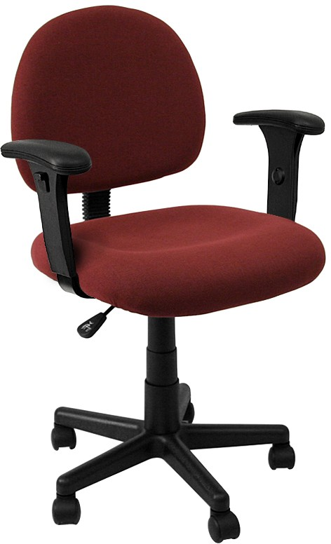 Mid Back Ergonomic Task Chair With Adjustable Arms- Burgundy