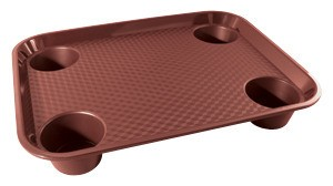 "G.E.T. Enterprises FT-20-BU Burgundy Polypropylene 17"" x 14"" Fast Food Tray with 4-Holders"