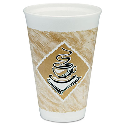 Cafe G Hot/Cold Cups, Foam, 16 oz., White/Brown with Green Accents, 25/Pack