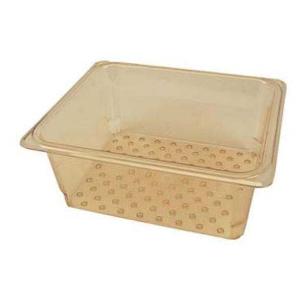 "Franklin Machine Products  247-1234 Cambro Amber Third-Size H-Pan Colander 5"" Deep"