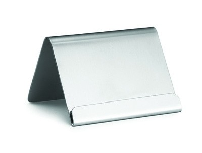 "TableCraft B17 Stainless Steel Card Holder with Lip, 2-1/2"" x 2"" x 2"""