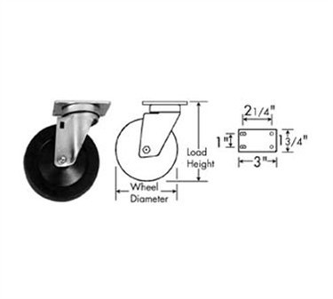 Franklin Machine Products  120-1019 Caster, Plate (3, Blk )