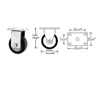 Franklin Machine Products  120-1021 Caster, Plate (3-1/2, Rgd, Gry )