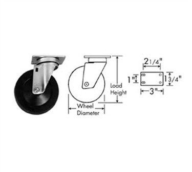 Franklin Machine Products  120-1053 Caster, Plate (4, with Brk, Blk )