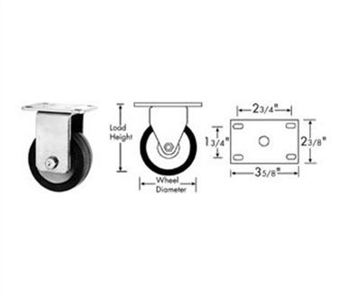Franklin Machine Products  120-1114 Caster, Plate (5, Rgd, Gry )