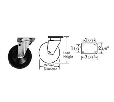 Franklin Machine Products  120-1100 Caster, Plate (5, with Brk, Blk )
