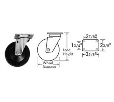 Franklin Machine Products  120-1104 Caster, Plate (5, with Brk, Gray )