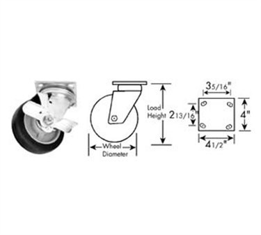 Franklin Machine Products  120-1085 Caster, Plate (5, with Brk, Gry )