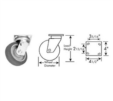 Franklin Machine Products  120-1155 Caster, Plate (8, Gry )