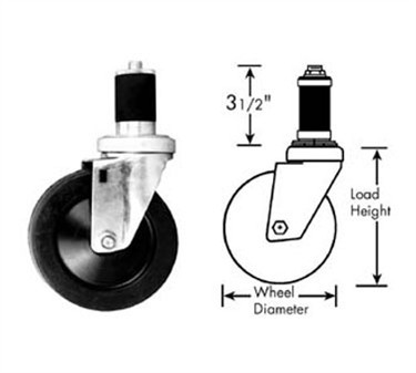 Franklin Machine Products  120-1076 Caster, Stem (4, with Brk, Blk )
