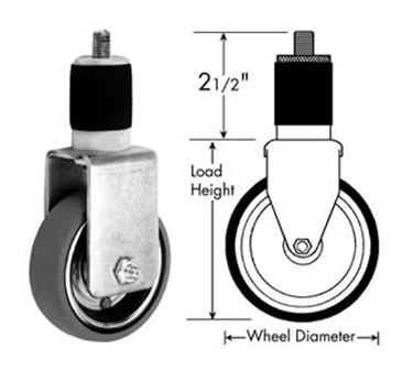 Franklin Machine Products  120-1145 Caster, Stem (5, Rgd, Gry )