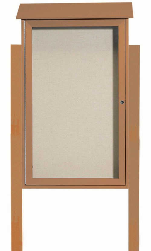 "Aarco Products PLD4226DPP-5 Cedar Single Hinged Door Plastic Lumber Message Center with Vinyl Posting Surface (Posts Included), 42""H x 26""W"