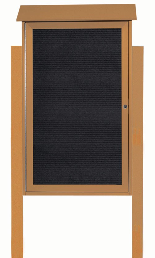 "Aarco Products PLD4226LDPP-5 Cedar Single Hinged Door Plastic Lumber Message Center with Letter Board (Posts Included), 42""H x 26""W"
