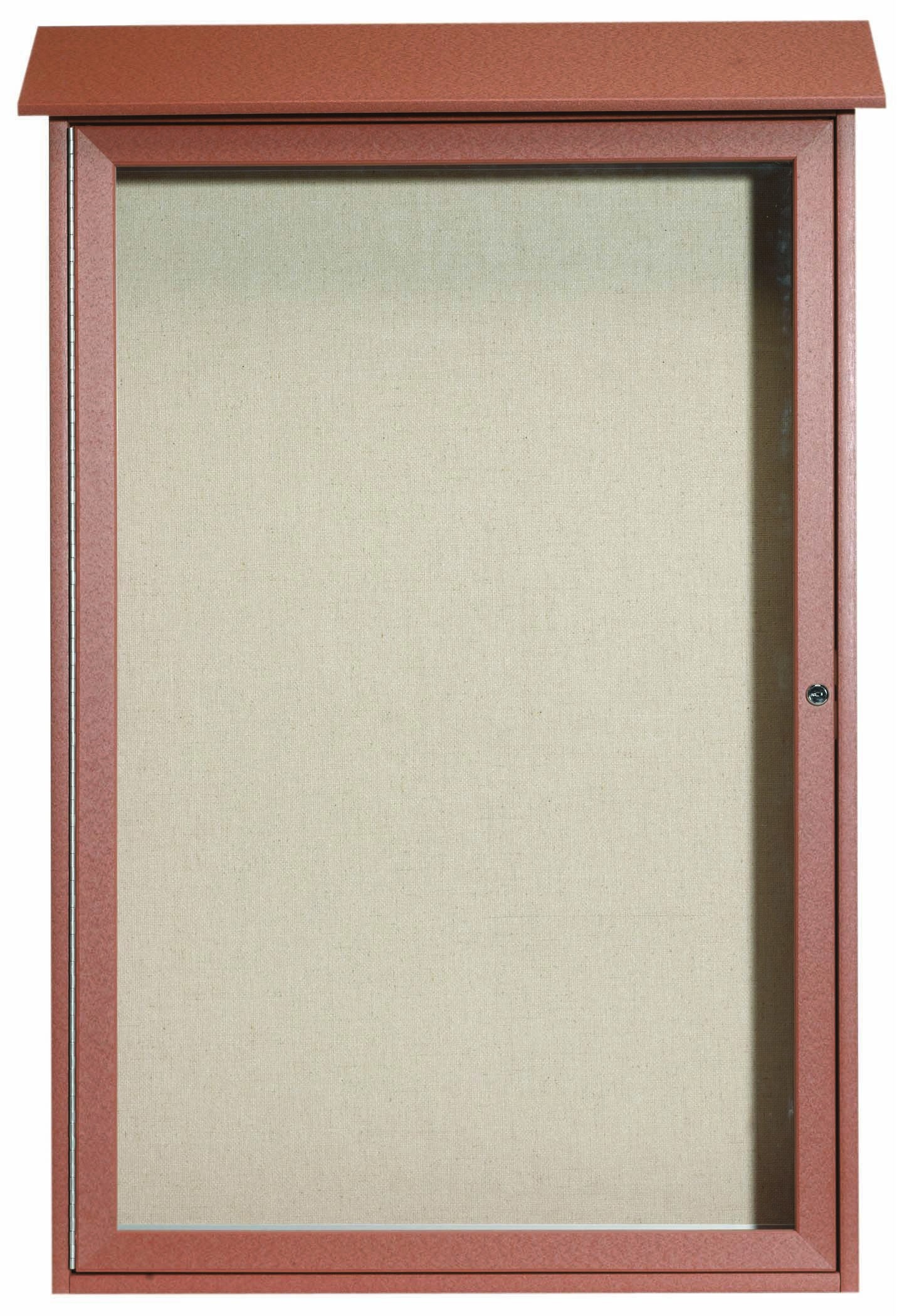 Cedar Single Hinged Door Plastic Lumber Message Center with Vinyl Posting Surface- 48