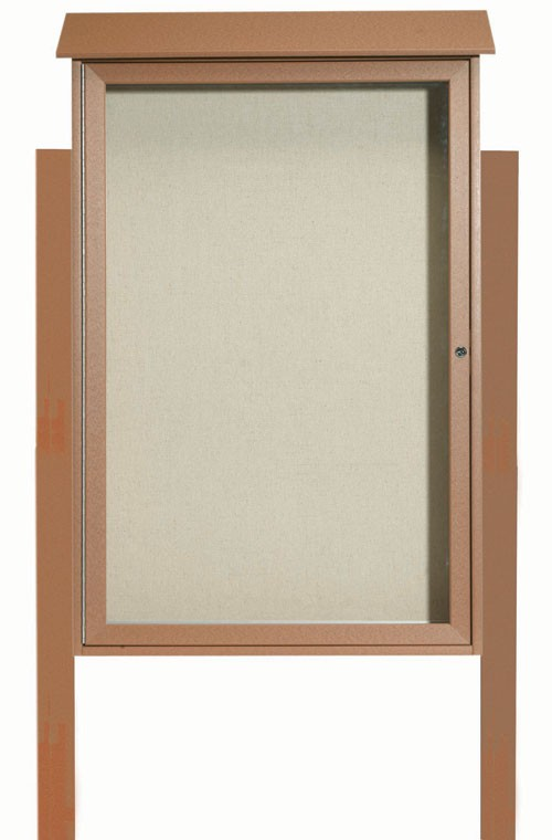Cedar Single Hinged Door Plastic Lumber Message Center with Vinyl Posting Surface (Posts Included)- 48