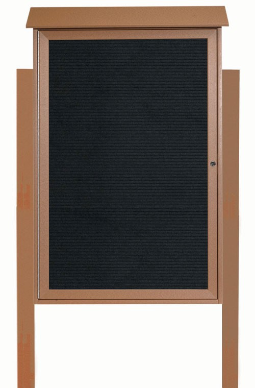 Cedar Single Hinged Door Plastic Lumber Message Center with Letter Board (Posts Included)- 8
