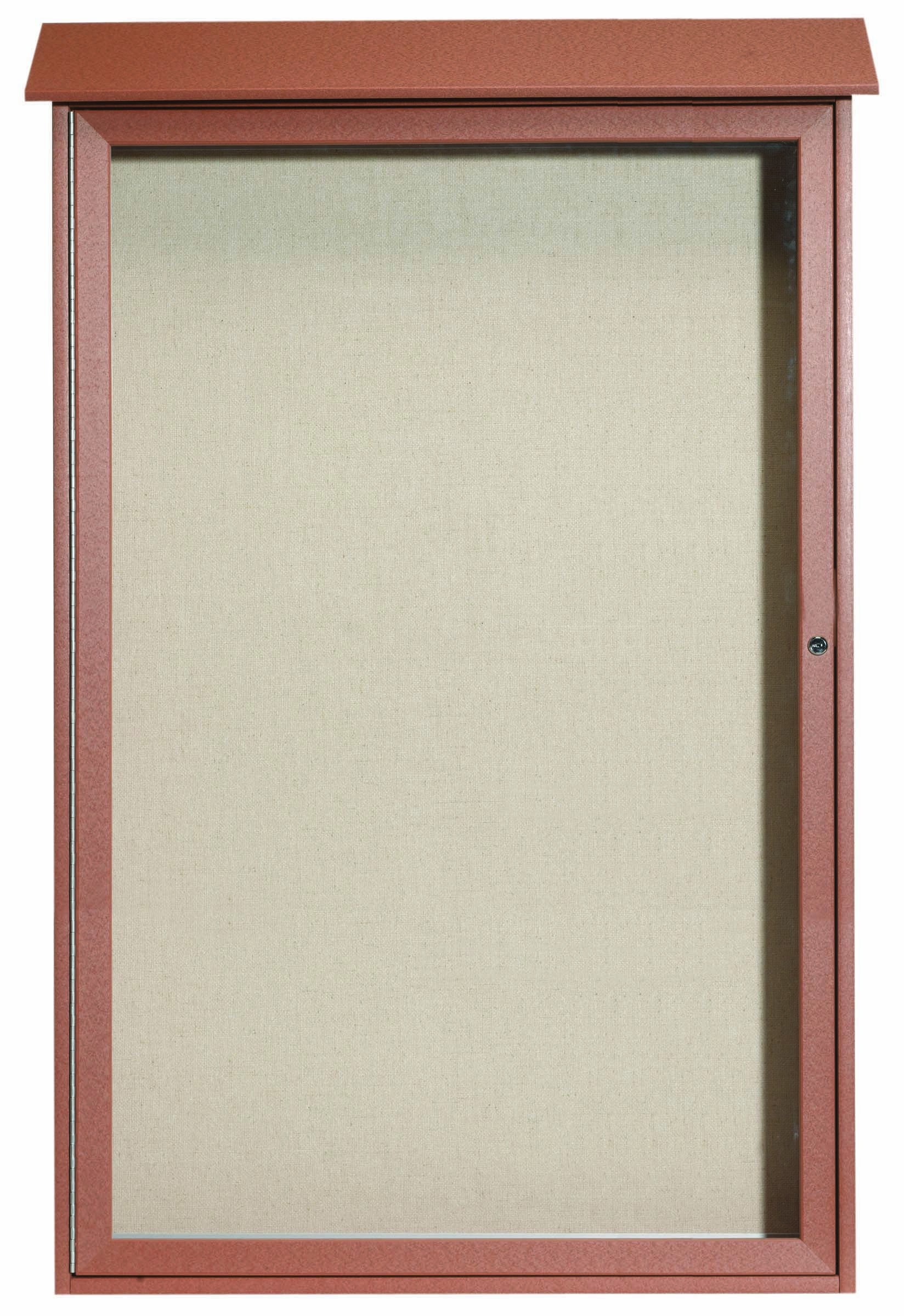 "Aarco Products PLD5438-5 Cedar Single Hinged Door Plastic Lumber Message Center with Vinyl Posting Surface, 54""H x 38""W"