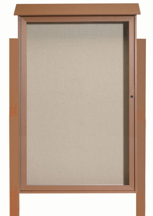 Cedar Single Hinged Door Plastic Lumber Message Center with Vinyl Posting Surface (Posts Included)- 54