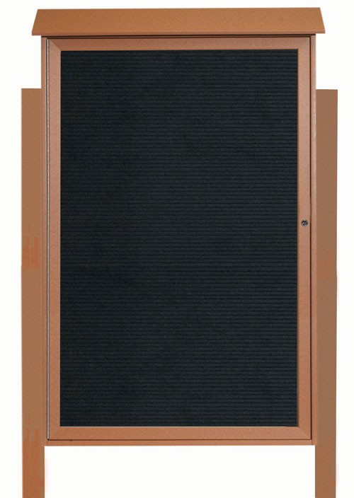 """Aarco Products PLD5438LDPP-5 Cedar Single Hinged Door Plastic Lumber Message Center with Letter Board (Posts Included), 54""""H x 38""""W"""