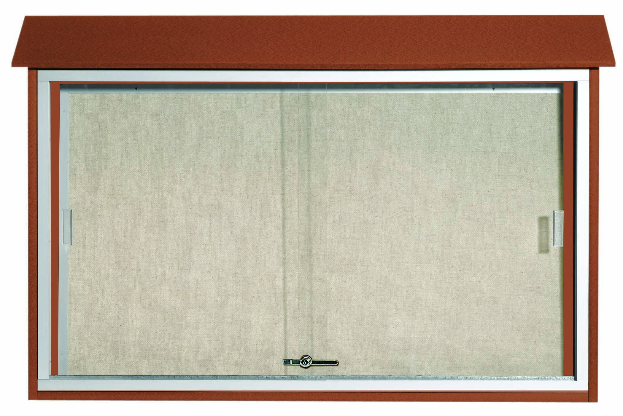 """Aarco Products PLDS3045-5 Cedar Sliding Door Plastic Lumber Message Center with Vinyl Posting Surface, 30""""H x 45""""W"""